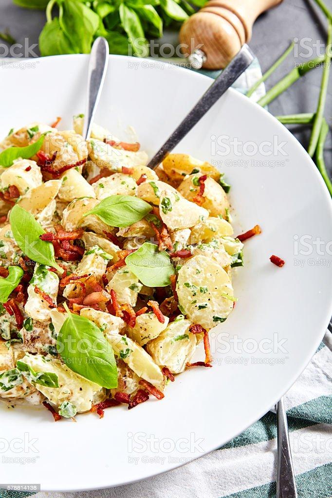 Potato salad with yoghurt dressing stock photo