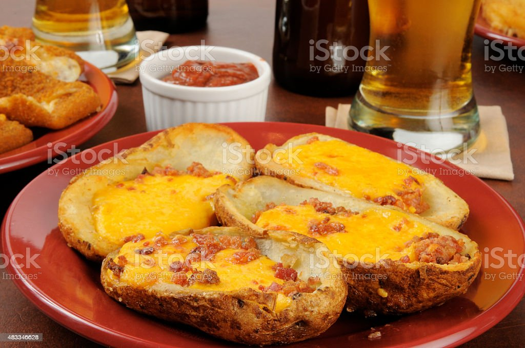 Potato Skins with cheddar cheese and bacon stock photo