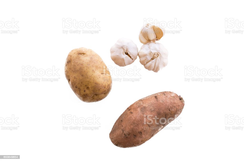 potato, sweet potato and garlic stock photo