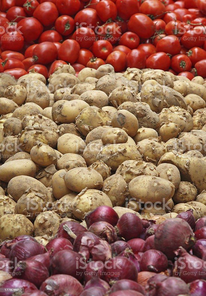 Potato, Tomato & Onion royalty-free stock photo