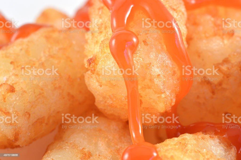 Potato Tots With Ketchup stock photo