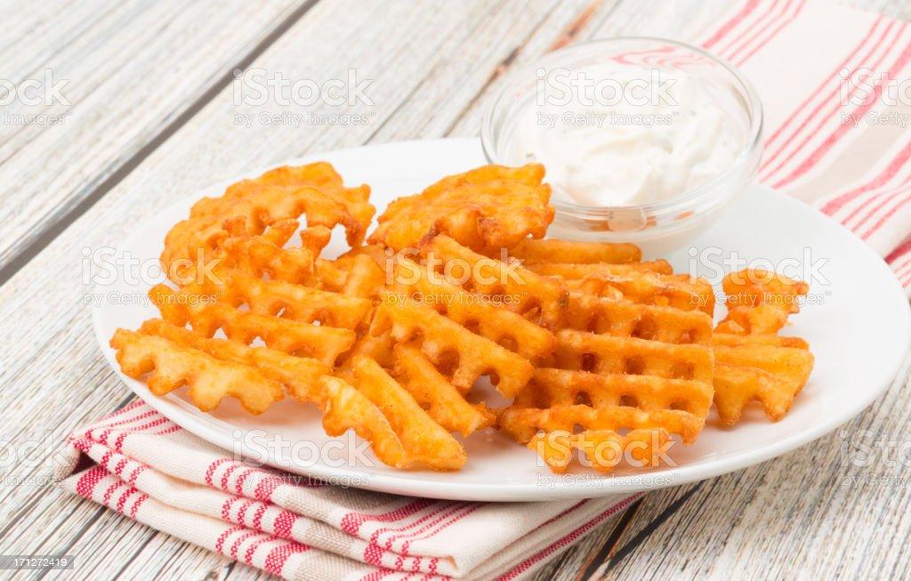 Potato waffle fries stock photo