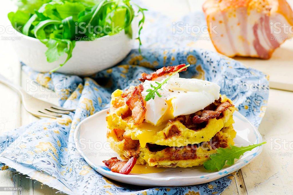 potato waffle with bacon and egg stock photo