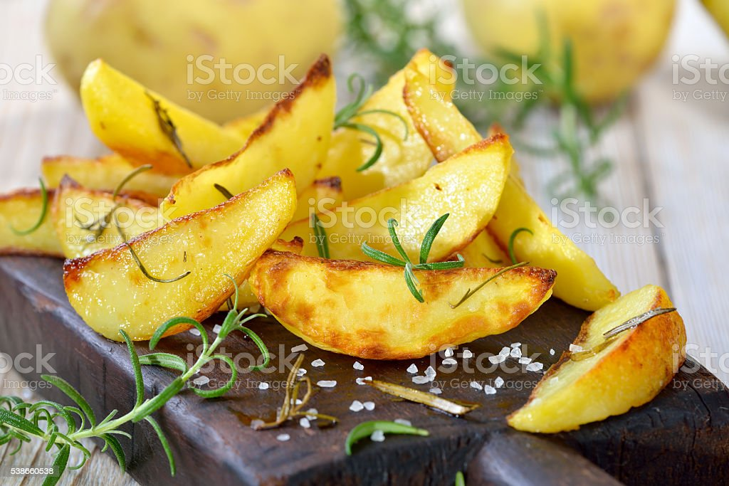 potato wedges stock photo