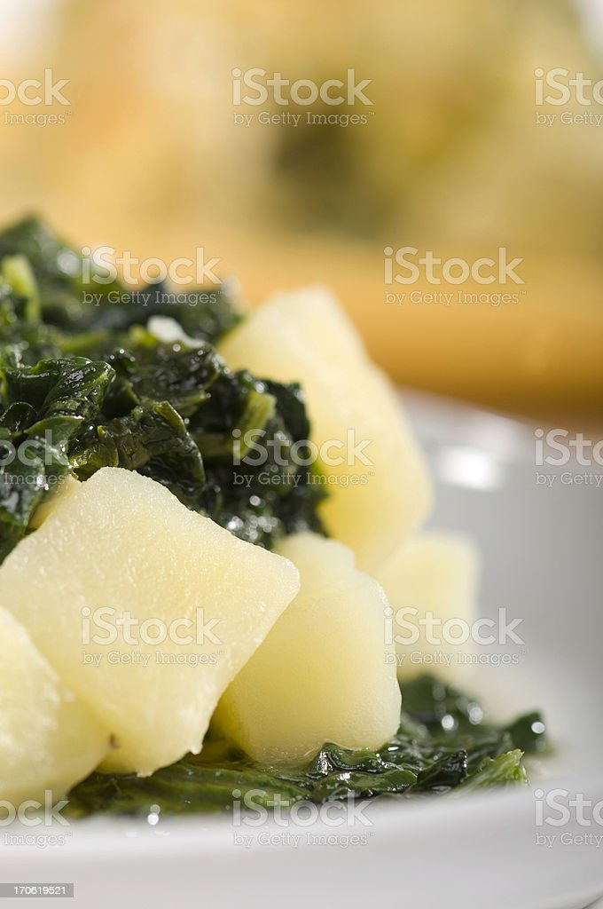 potato with spinach stock photo