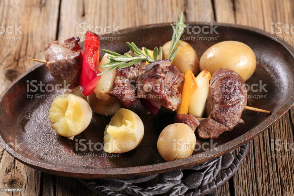 Potatoes and beef skewer royalty-free stock photo
