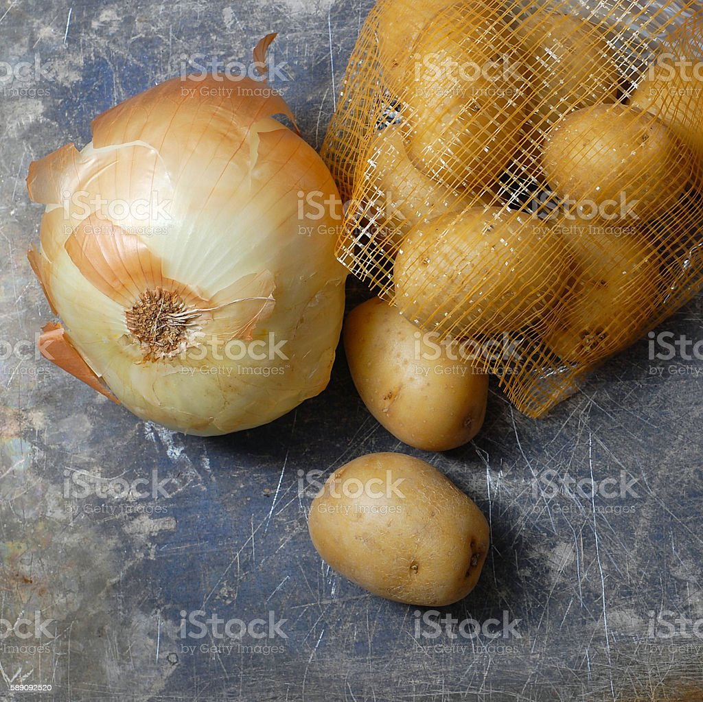 Potatoes and Onion stock photo