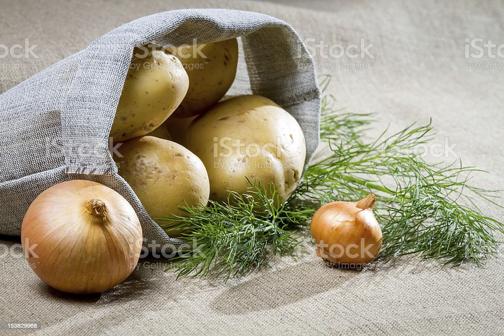 Potatoes and onion with dill royalty-free stock photo