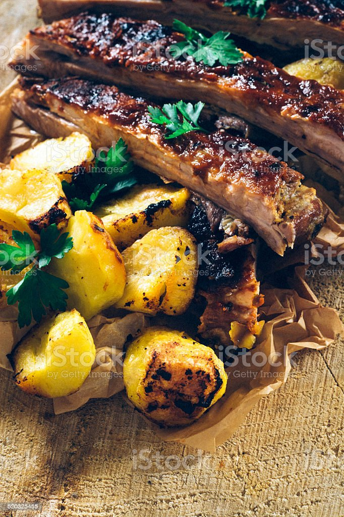Potatoes and Ribs stock photo