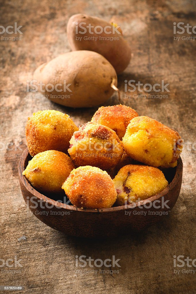Potatoes balls stock photo