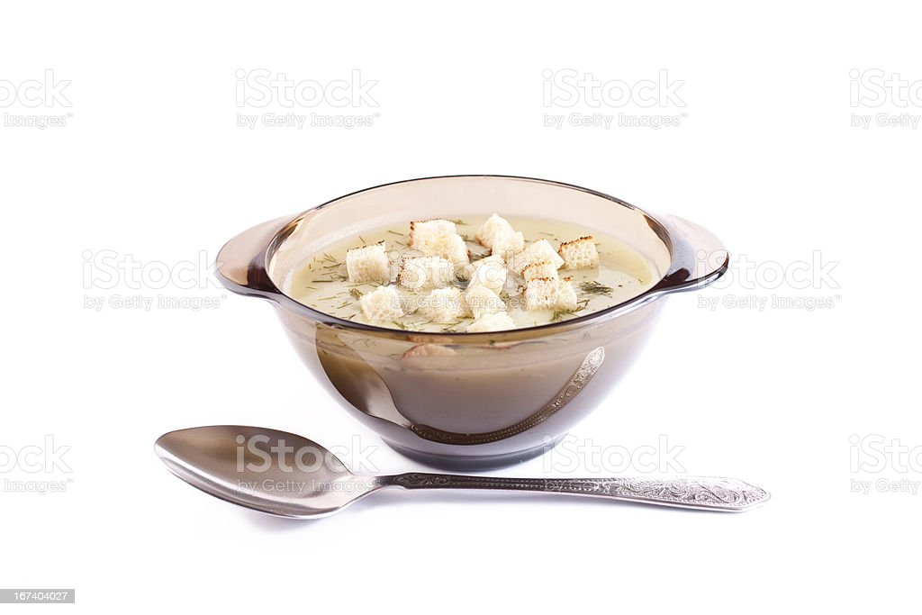 potatoes cheese cream soup in a glass plate royalty-free stock photo