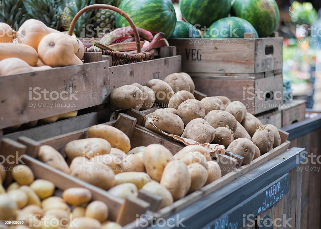 Potatoes For Sale At Fruit And Vegetable Market stock photo