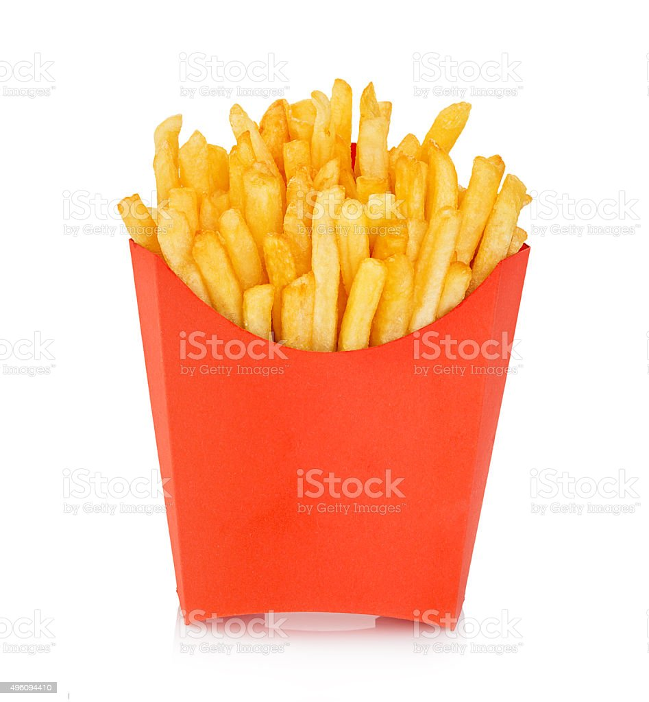 Potatoes fries in a red carton box isolated. Fast Food. stock photo