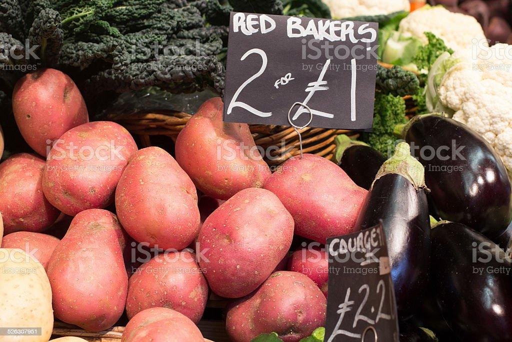 Potatoes in Borough Market, London stock photo