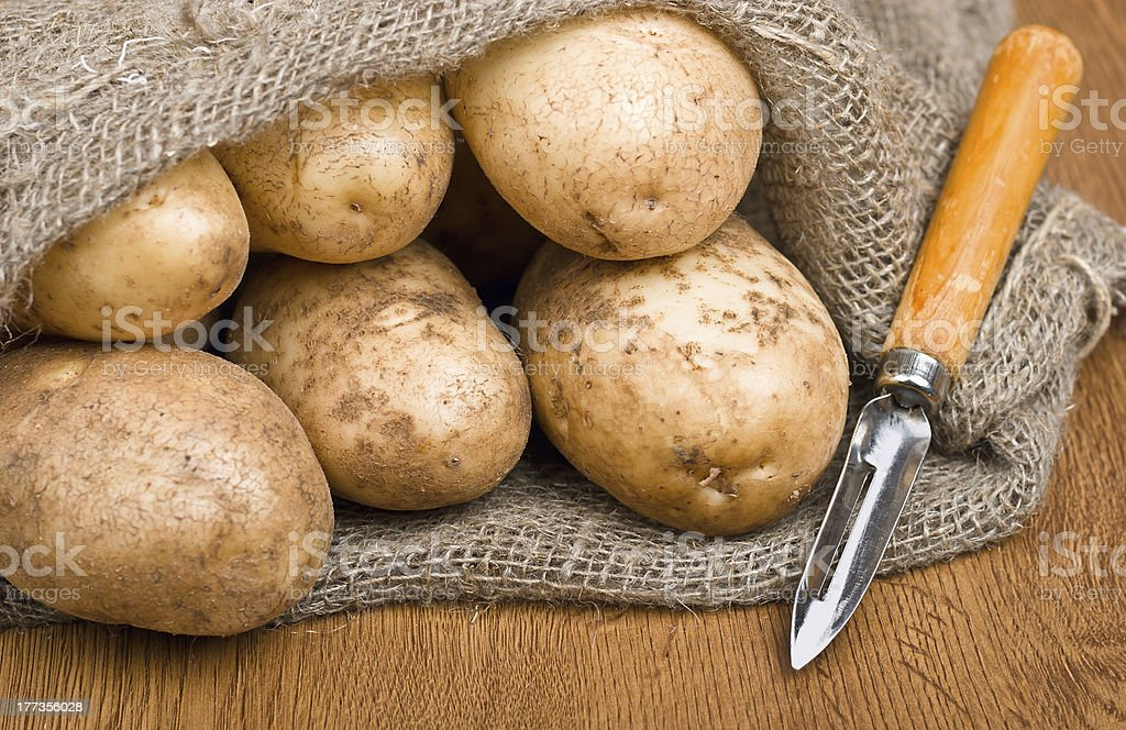 potatoes in burlap sack with a rustic knife royalty-free stock photo