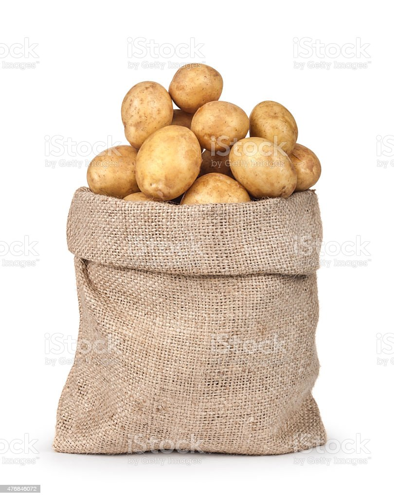 potatoes in the bag isolated on white background. close-up stock photo