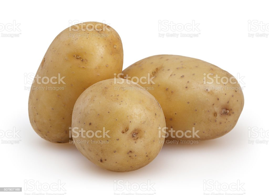 Potatoes isolated on white background with clipping path stock photo