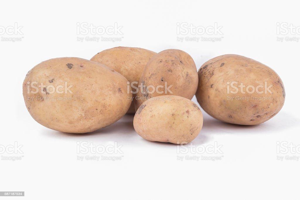 Potatoes on white stock photo