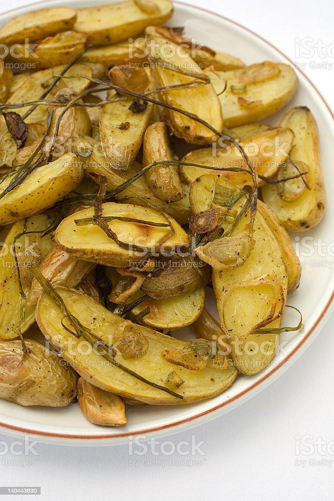 Potatoes Roasted Fingerling stock photo
