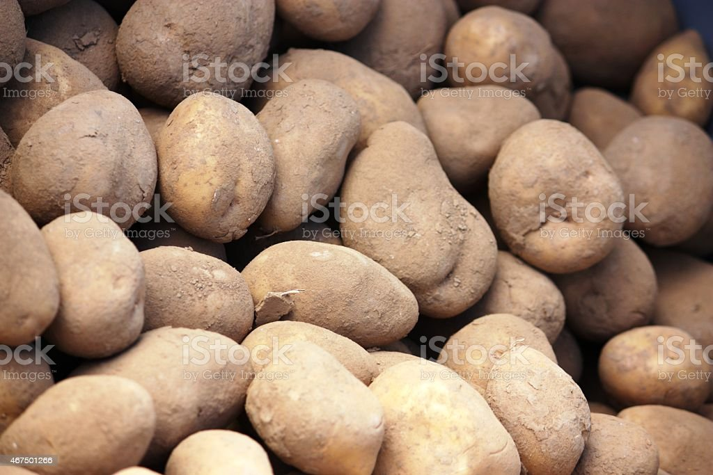 Potatoes sale on the market stock photo