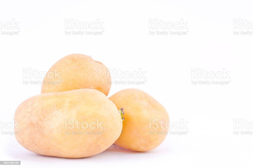 potatoes tubers on white background healthy potato Vegetable food isolated stock photo