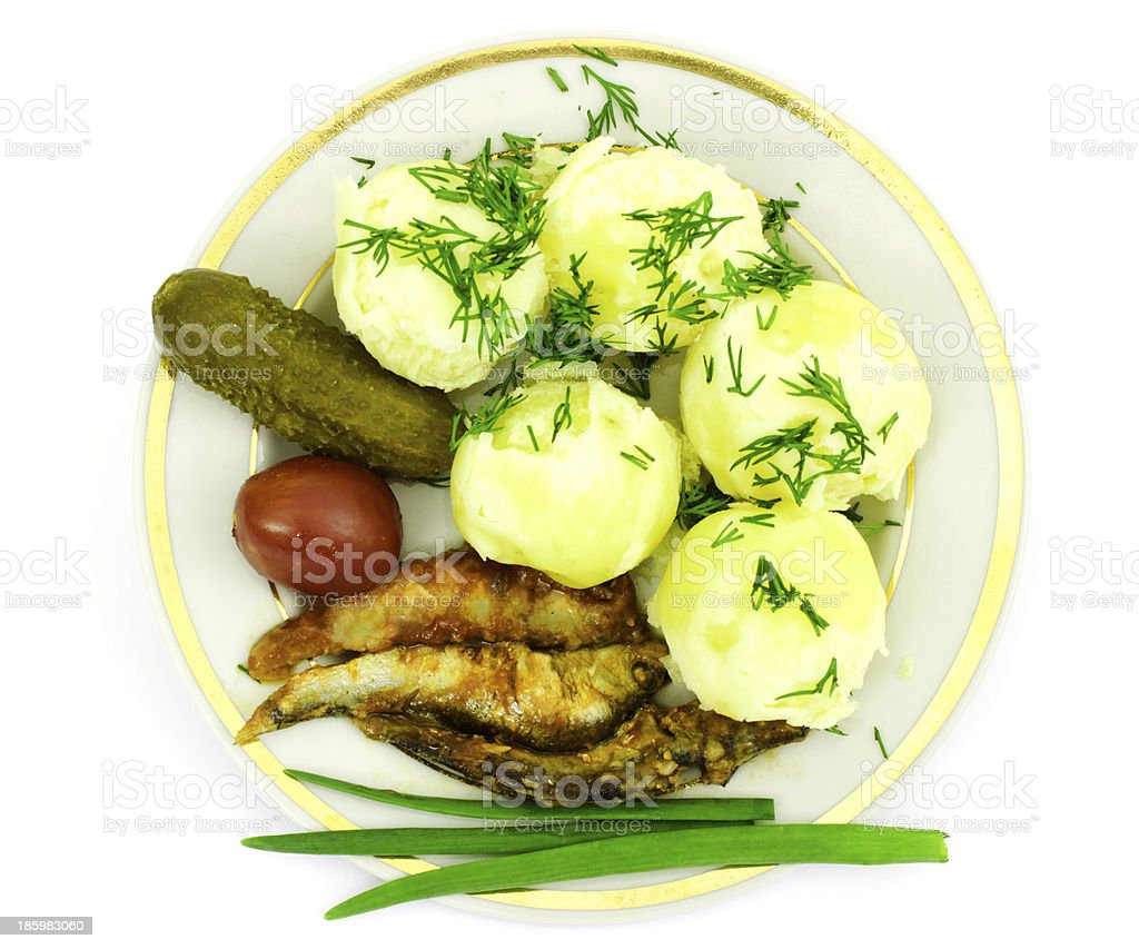 Potatoes with  anchovies royalty-free stock photo