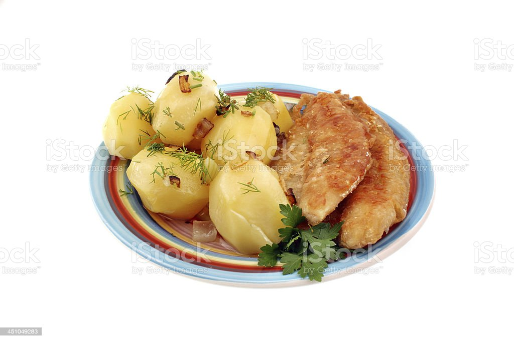 Potatoes with fish royalty-free stock photo