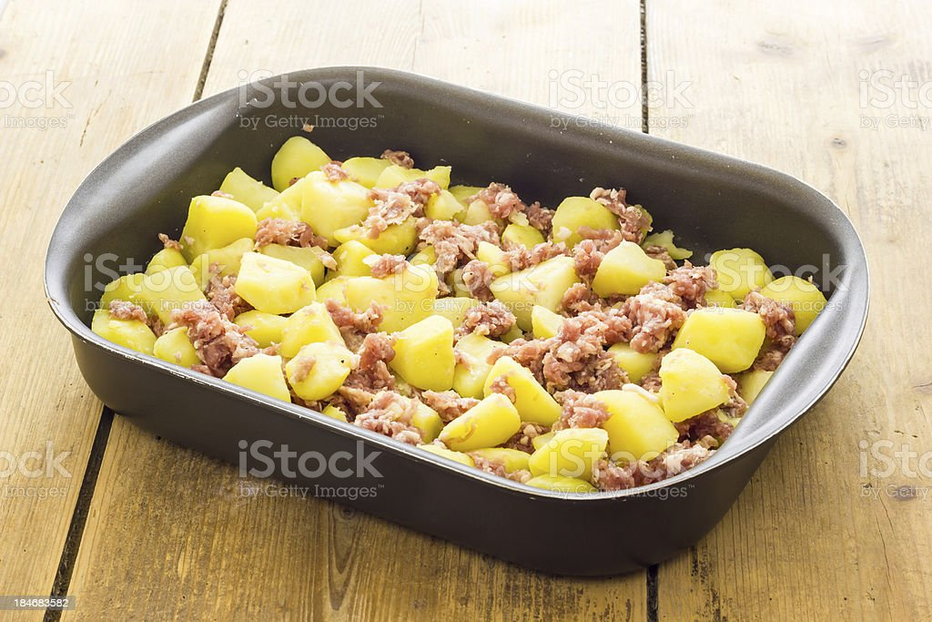 Potatoes with sausage royalty-free stock photo