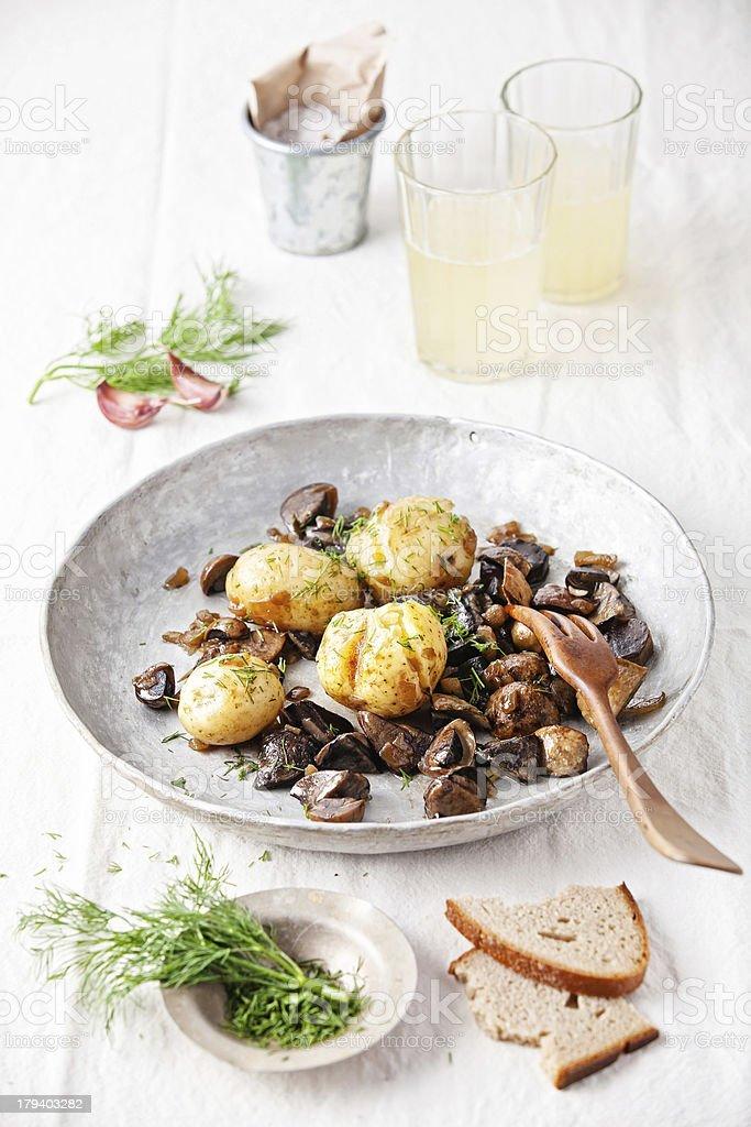 potatoes with wild mushrooms royalty-free stock photo