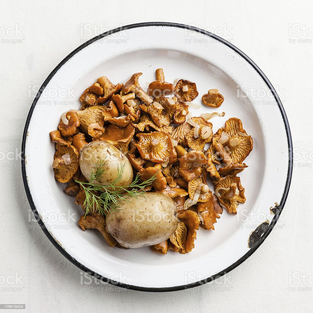 potatoes with wild mushrooms royalty-free stock photo