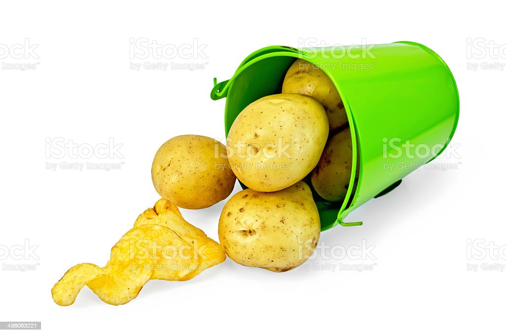 Potatoes yellow in a green bucket with chips royalty-free stock photo