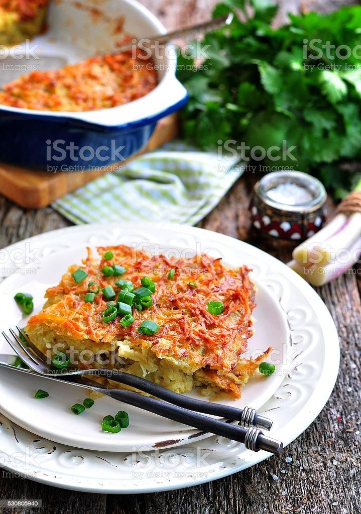 Potato-Kugel Casserole. Jewish cuisine. stock photo