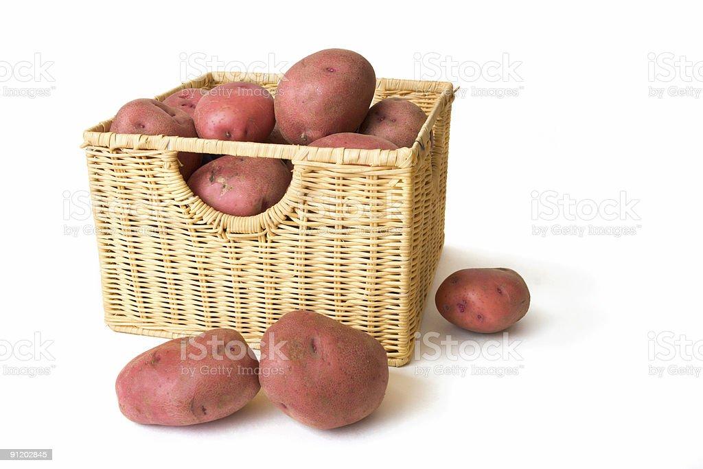 Potatos in Wicker Basket stock photo