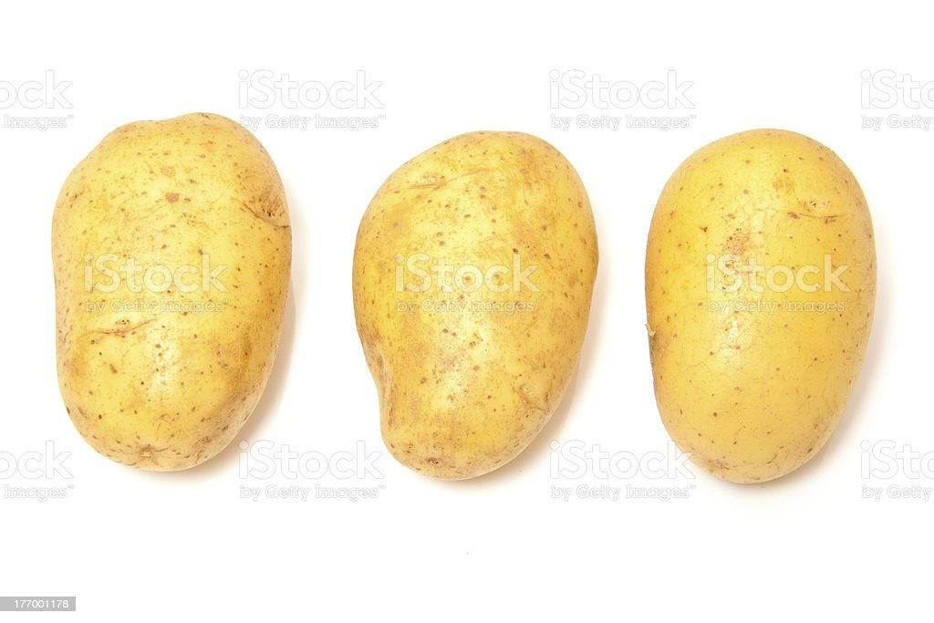 Potato's on a white background. stock photo