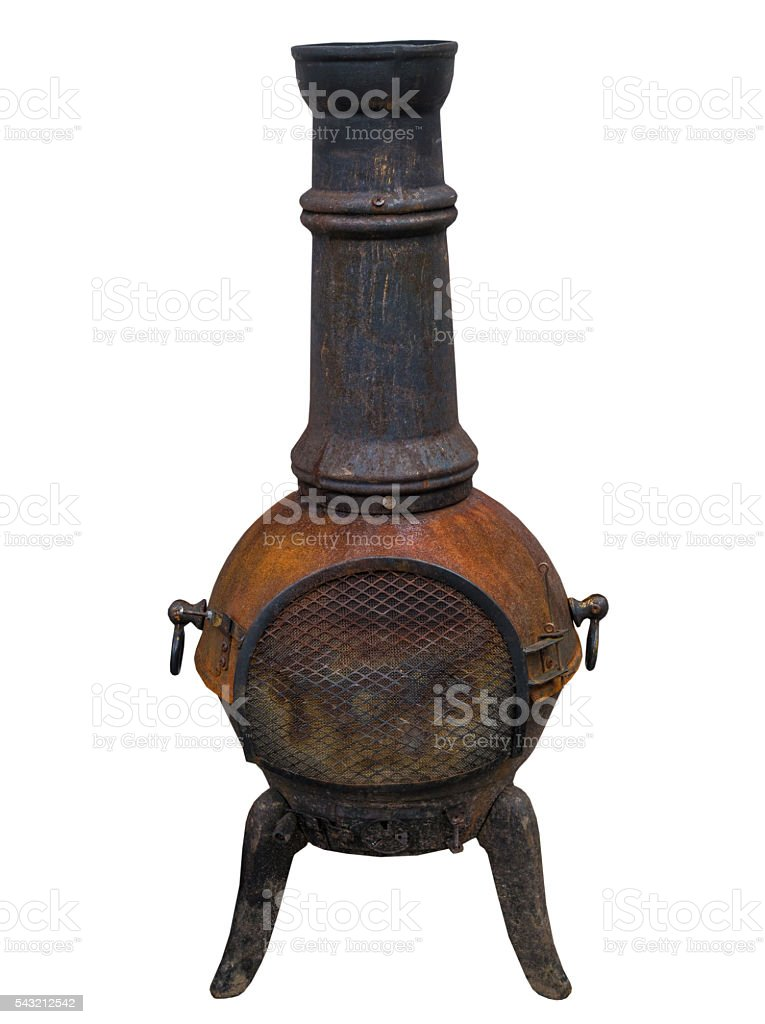 Potbelly stove on white background, isolated stock photo