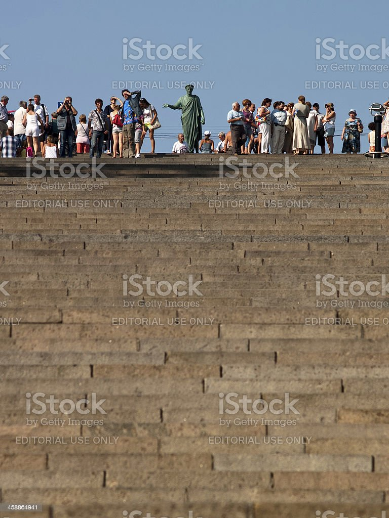 Potemkin Stairs entrance into the city of Odessa stock photo
