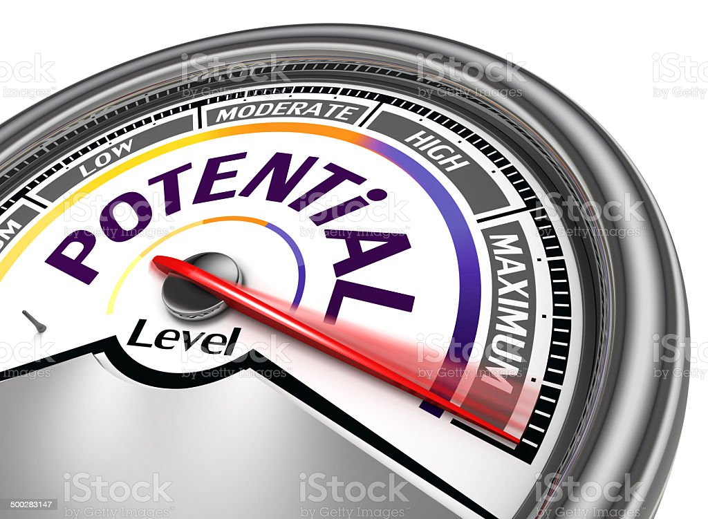 potential level conceptual meter stock photo