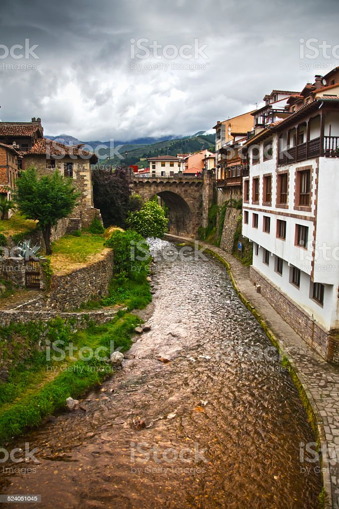 Potes in Cantabria stock photo