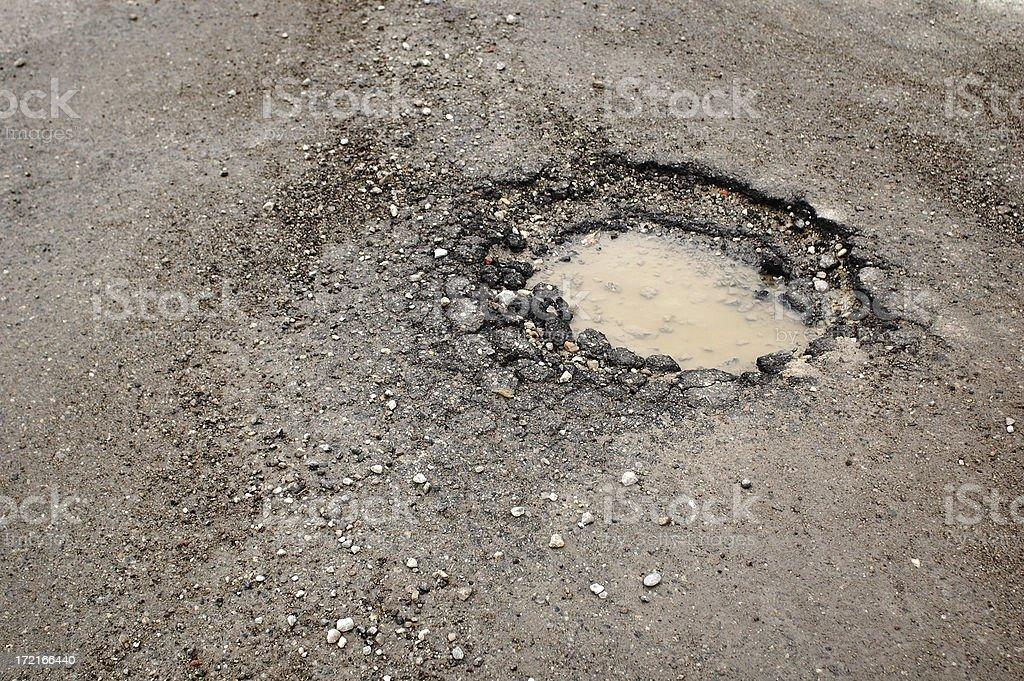 Pothole in Asphalt royalty-free stock photo