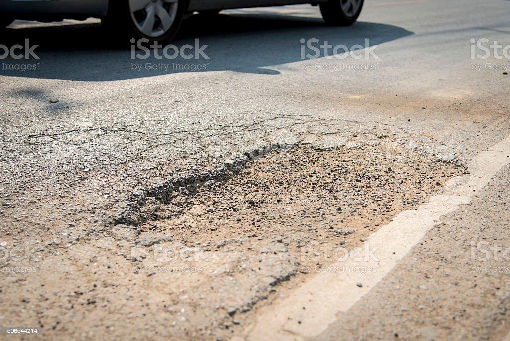 Pothole on the road stock photo