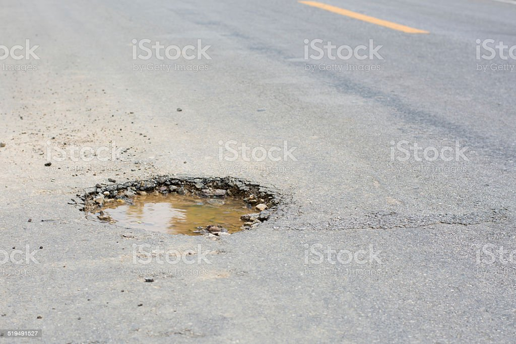 pothole on the road stock photo