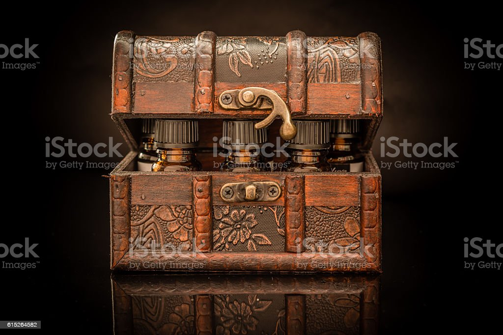 Potions in a box stock photo