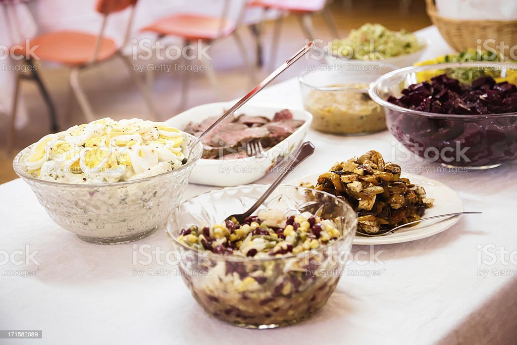Potluck Buffet Table stock photo
