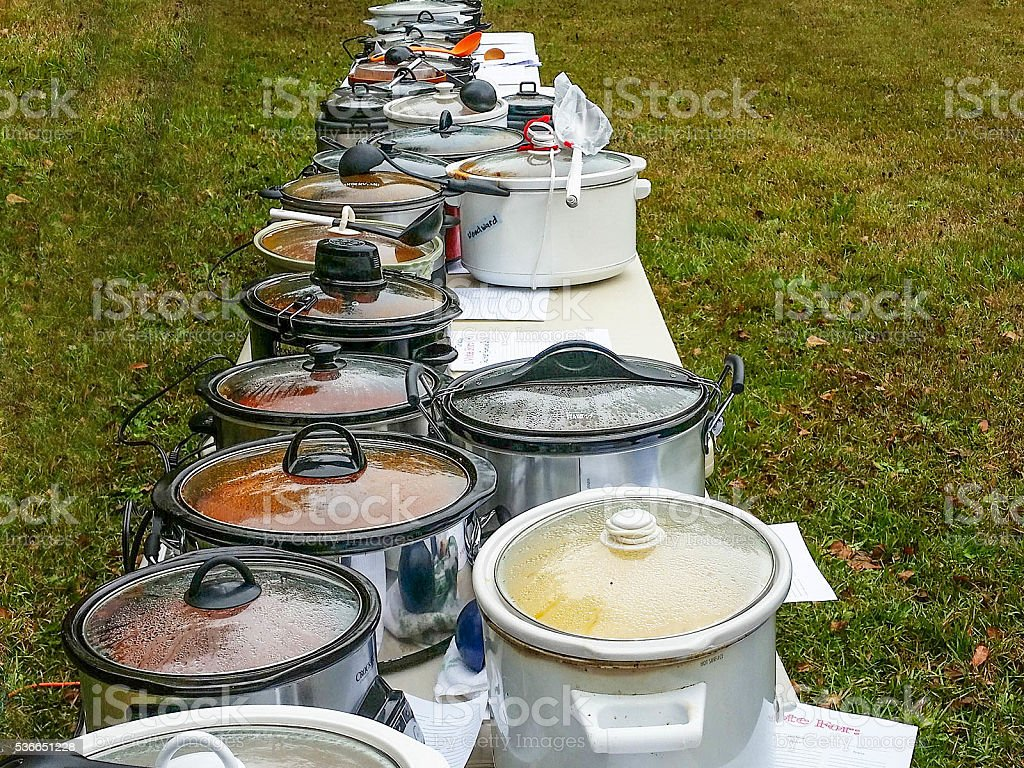 Potluck filled with chili stock photo