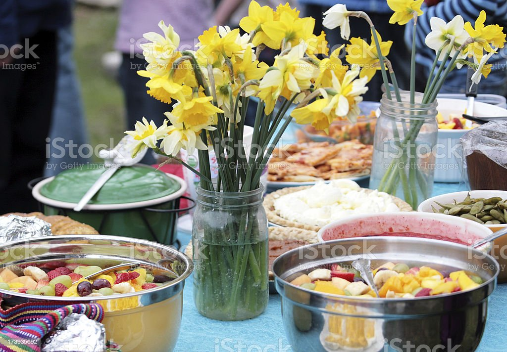 Potluck or Picnic in Spring stock photo