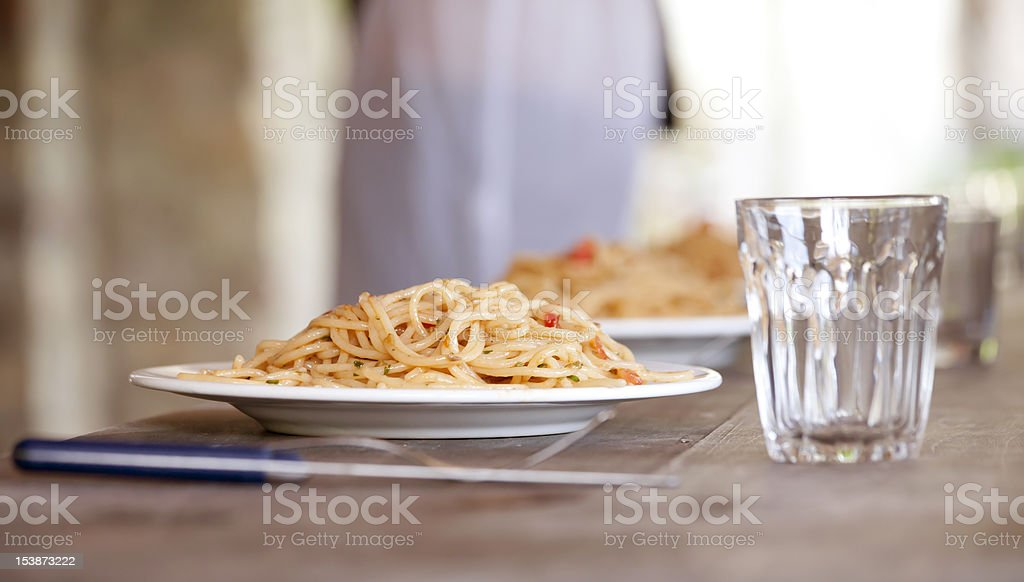 potluck with pasta stock photo