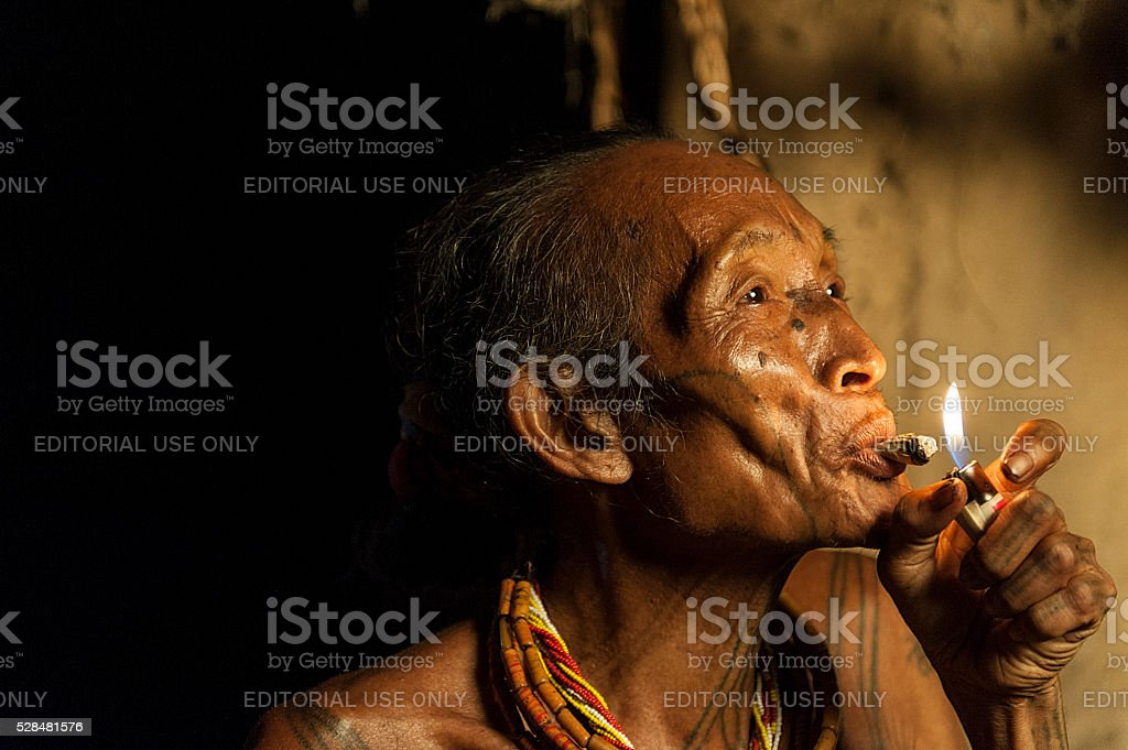 Poto, 67, the Mentawai tribe stock photo