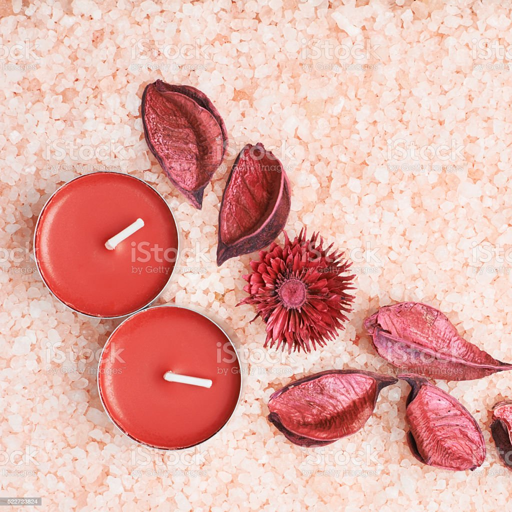 Potpourri and candles stock photo