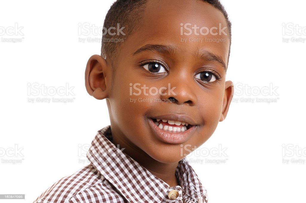 Potrait Of African American Boy Isolated On White stock photo