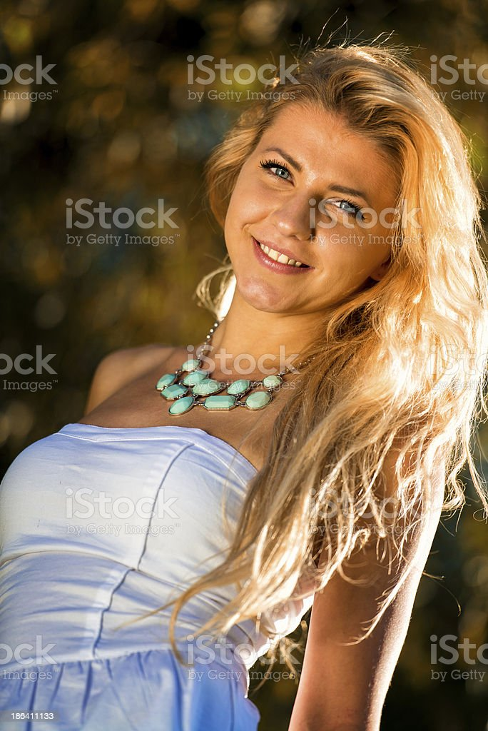 Potrait Of Young Woman Outside In Summer royalty-free stock photo